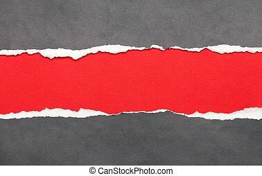 note, papier déchiré, rouges, espace