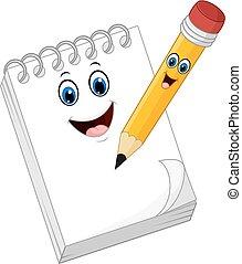 note papier, dessin animé, rigolote, livre