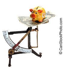 note, piggybank, dollaro, scale