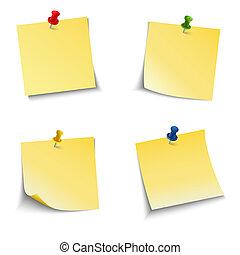 note, poussée, papier, épingle