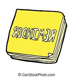 note, promemoria, comico, cartone animato