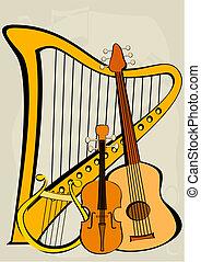 note, quitar, harpe, violon, lyre