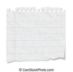 note, revêtu, -, papier, vide