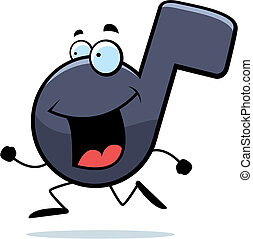 Note Running - A happy cartoon musical note running and ...