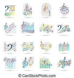 note, set, musica, icone
