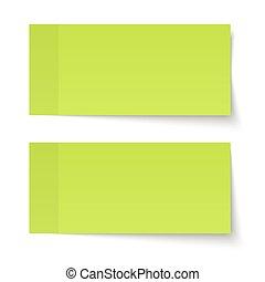 note, set, verde, appiccicoso