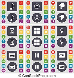 Note, Smile, Hand, Hourglass, Apps, Checkpoint, Credit card, Pause, Cassette icon symbol. A large set of flat, colored buttons for your design. Vector
