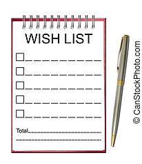 note, souhait, papier, liste
