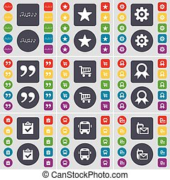 Note, Star, Gear, Quotation mark, Shopping cart, Medal, Survey, Bus, SMS icon symbol. A large set of flat, colored buttons for your design. Vector