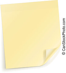 Note sticky Sheet - Vector Yellow sticky sheet for notes on...