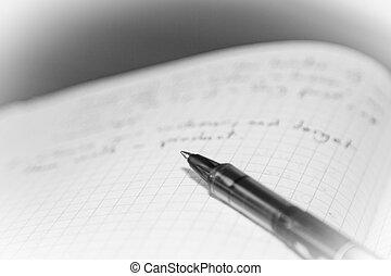note, stylo, livre, vide