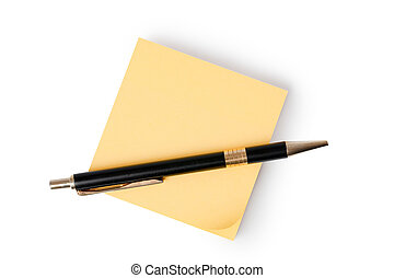 note, stylo, papier, jaune