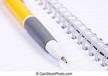 note, stylo, papier, jaune, vide