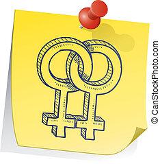 note, symbole genre, lesbienne, collant