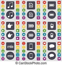 Note, Text file, Battery, Hand, Mobile phone, Keyboard, Smartphone, Chat bubble icon symbol. A large set of flat, colored buttons for your design. Vector