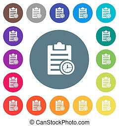Note timer flat white icons on round color backgrounds. 17 background color variations are included.