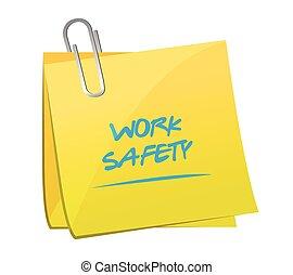 note, travail, sécurité, poste, illustration