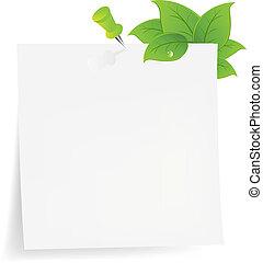 note, vert, papier, feuille, vide