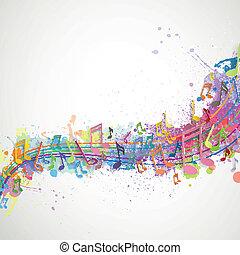 note, vettore, musica, fondo