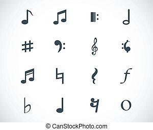 note, vettore, nero, set, icone