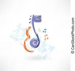 note, violon,  grunge,  contour, icône