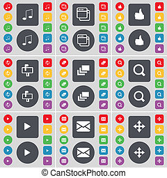 Note, Window, Like, Mailbox, Gallery, Magnifying glass, Media play, Message, Moving icon symbol. A large set of flat, colored buttons for your design.