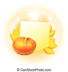 Note with autumn leaves and pumpkin