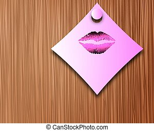 note with lipstick - Note with lipstick, vector art...