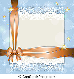 Note with orange ribbon for your text