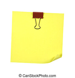Note With Red Clip Isolated
