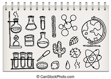 Note with science learning symbol