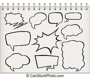 Note with set of speech bubble