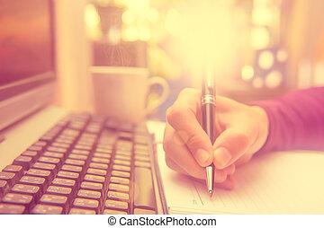 notebook., 手, ペン, 保有物, 執筆, 人