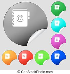Notebook, address, phone book icon sign. Set of eight multi colored round buttons, stickers. Vector
