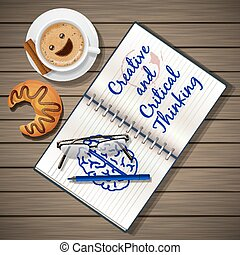 notebook and coffee cup with croissant