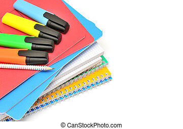 Notebook and felt-tip pen isolated on a white background...