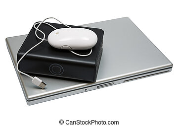 notebook and hard drive