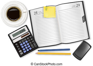 Notebook and office supplies. Vector.