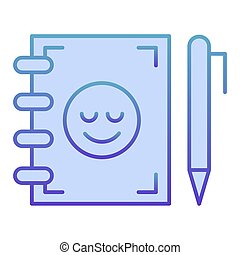 Notebook and pen flat icon. Notepad with smiley blue icons in trendy flat style. Study gradient style design, designed for web and app. Eps 10.