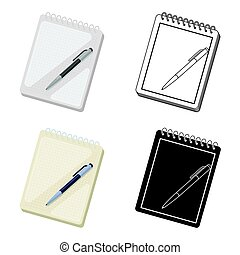 Notebook and pen icon in cartoon style isolated on white background.
