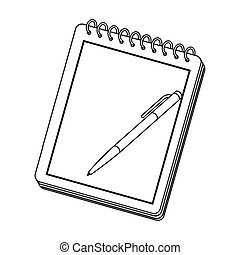 Notebook and pen icon in outline style isolated on white background. Hipster style symbol stock vector illustration.