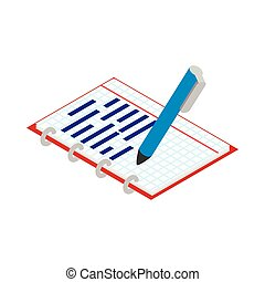 Notebook and pen icon, isometric 3d style