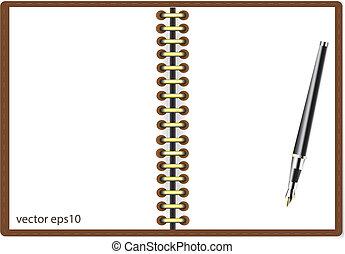 Notebook and pen vector illustratio