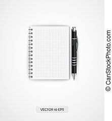 Notebook and pen. Vector illustration.