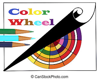 Notebook and Pencils With Color Wheel