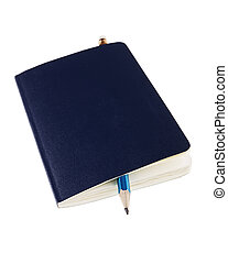 notebook and pensil on white (popular notebook with yellow ...