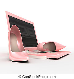 Notebook and stiletto - Set for blonde. Pink laptop and...