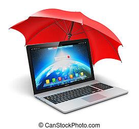 Notebook and umbrella
