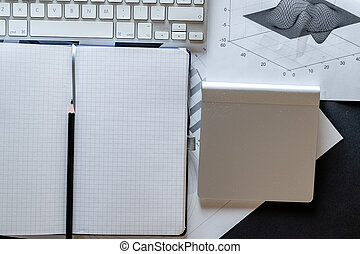 Notebook background. Charts graphs diagram in office. Finance control and analysis concept. Concept image of data gathering and statistical working.