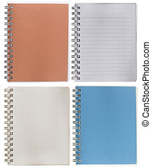notebook brown and blue. isolated over white
